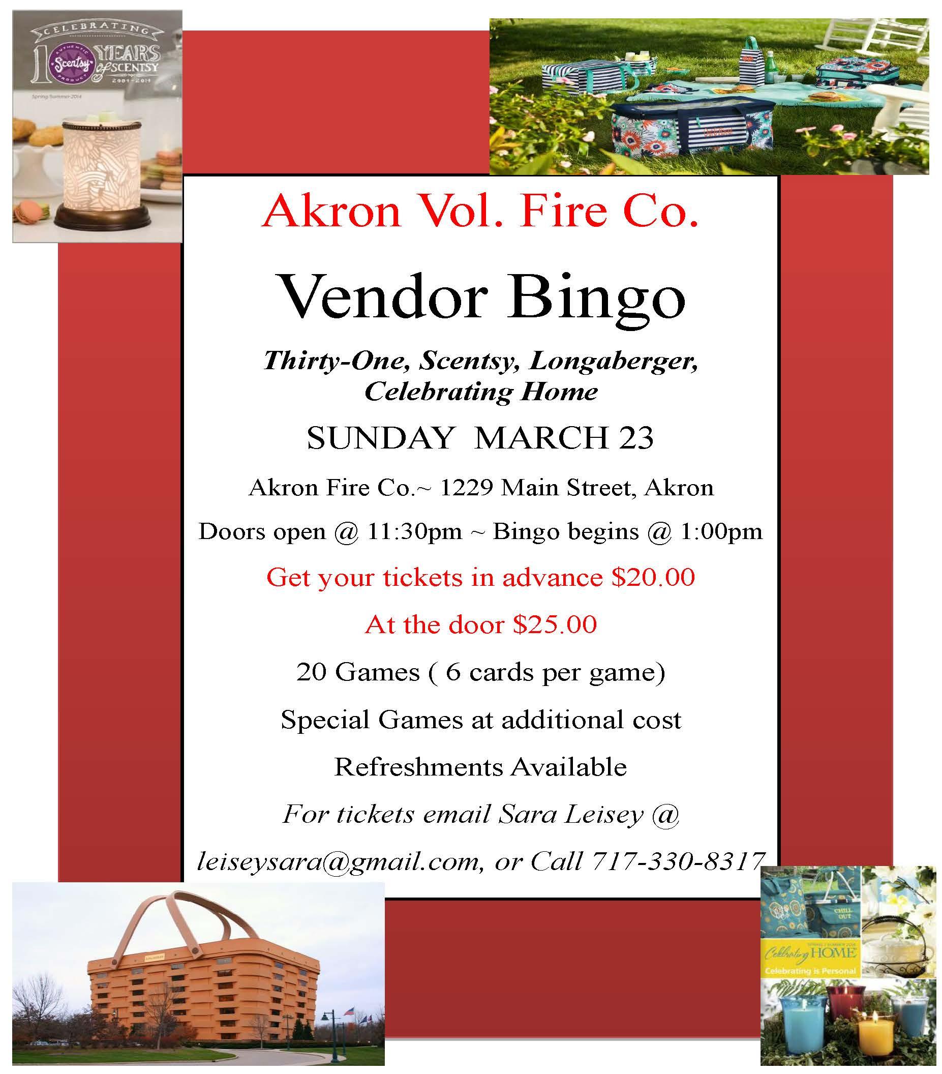 2014 Vendor Bingo Flyer