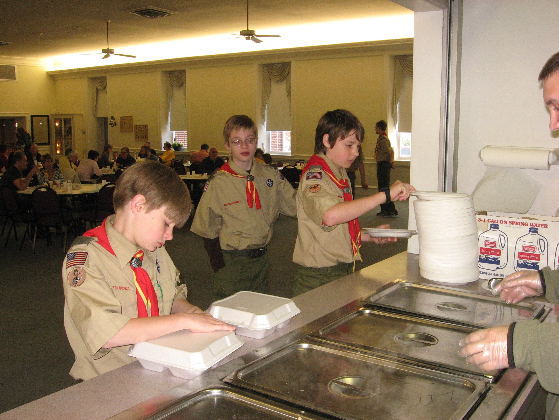 Scouts serving pancakes - 2013