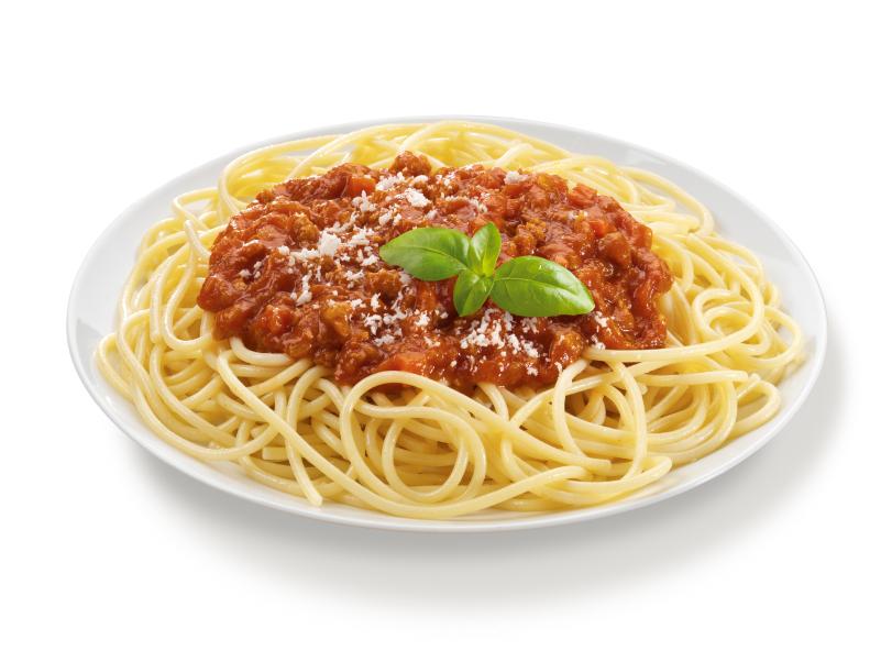 Spaghetti Bolognese with Basil Leaf