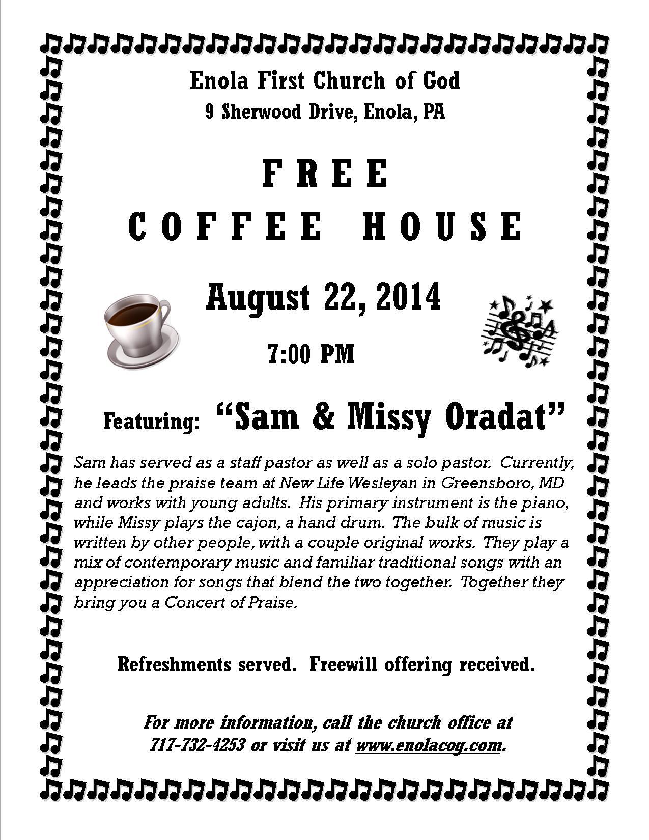 Coffee House Flyer - Sam Oradat - August 2014