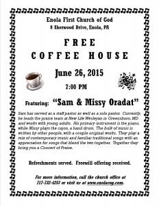 Coffee House Flyer - Sam Oradat - June 2015