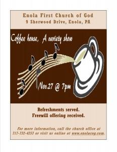 Coffee House Flyer - Variety Show - November 2015